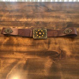 Genuine Leather Vintage Embellished Stone Belt